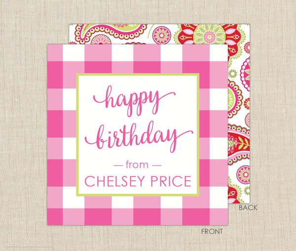 Gingham Gift Enclosure Cards