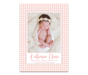 Gingham Birth Announcement