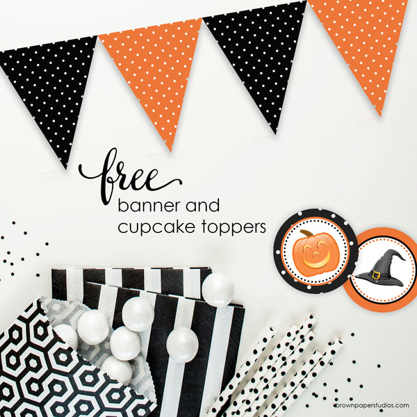 Halloween Banner and Cupcake Toppers