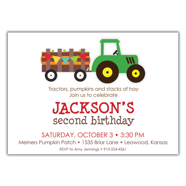 Tractor Ride Birthday Invitation