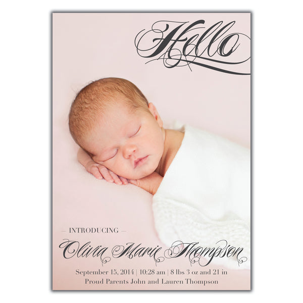 Fancy Hello Birth Announcement