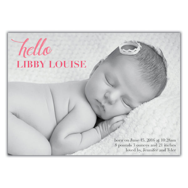 Hello Birth Announcement