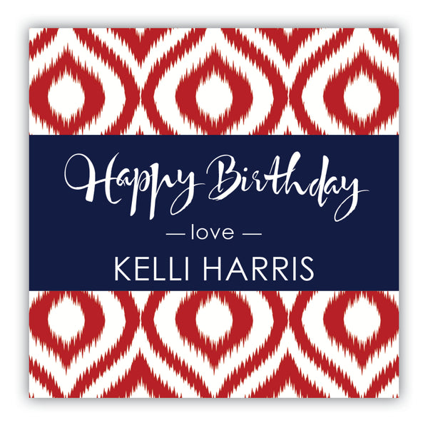 Ikat Birthday Gift Labels