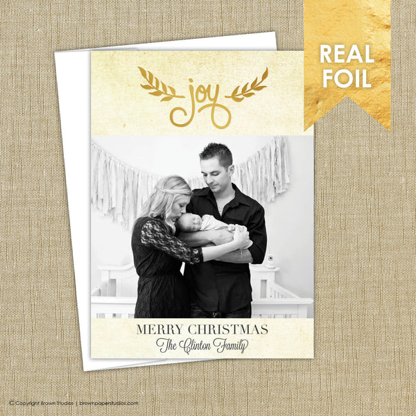 Gold Foil Christmas Card. Joy