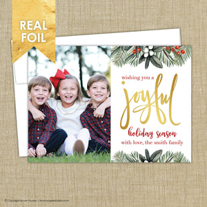 Foil Christmas Card. Joyful