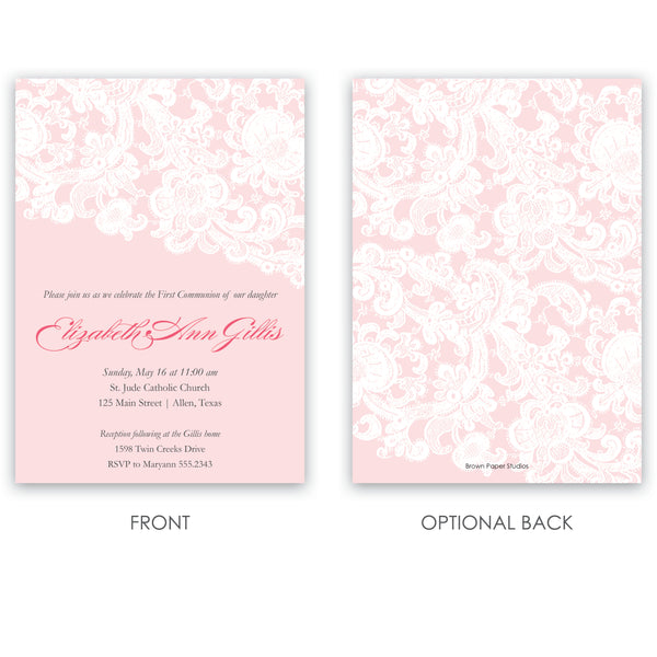 Girls Lace Baptism Invitation