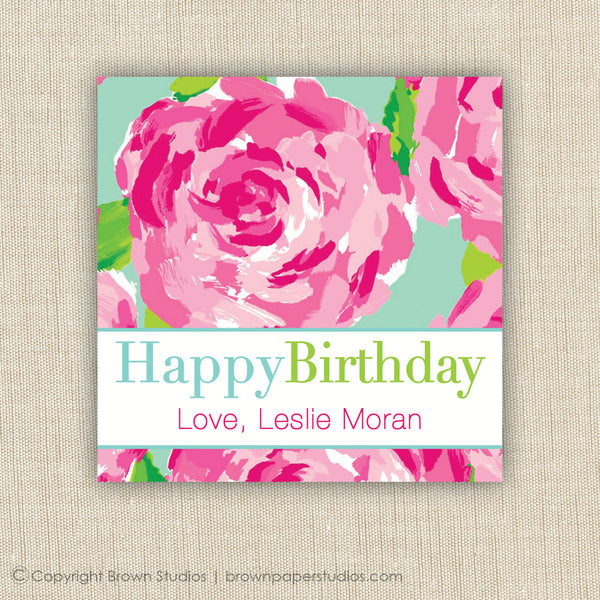 Floral Birthday Gift Labels