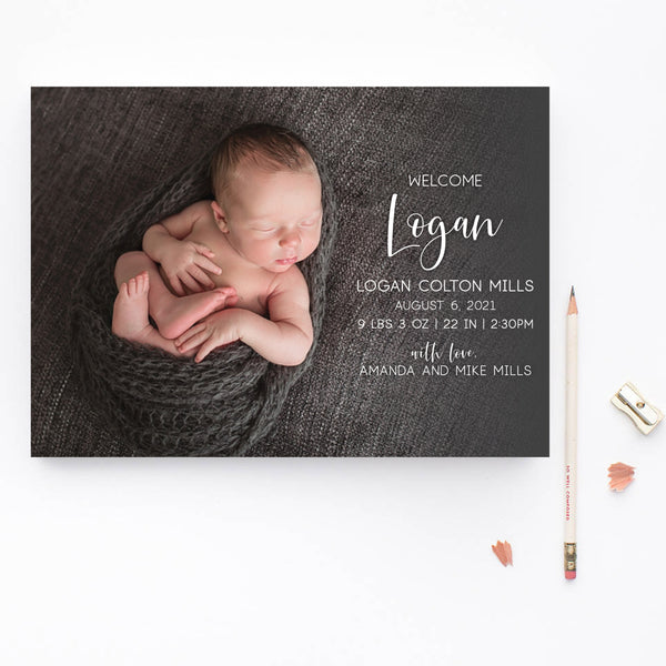 Welcome Boy Birth Announcement