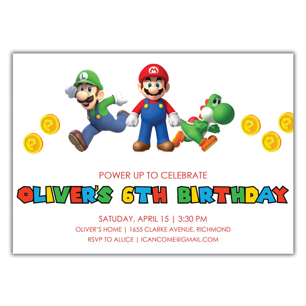 Mario Birthday Invitation
