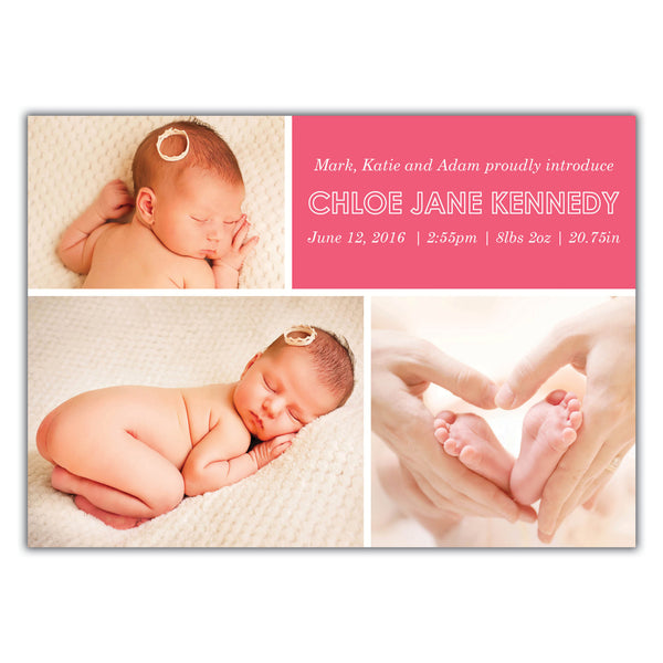 Multiple Photo Birth Announcement