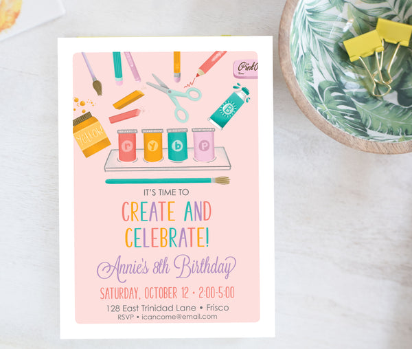 Paint Party Birthday Invitation