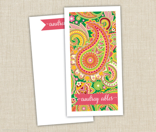 Personalized Notepad Set Paisley