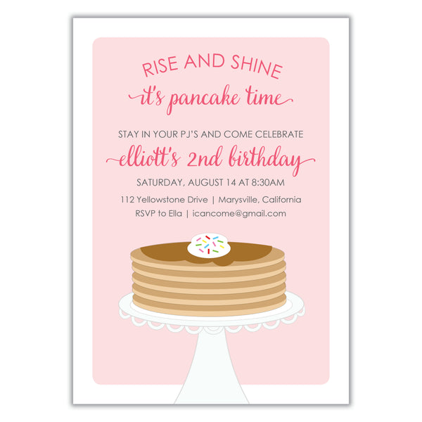 Pancake Birthday Party Invitation