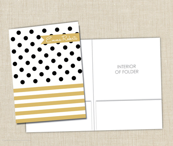 Personalized Folder Dots and Stripes