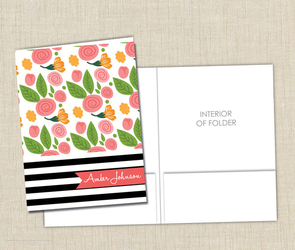 Personalized Folder Flowers and Stripes