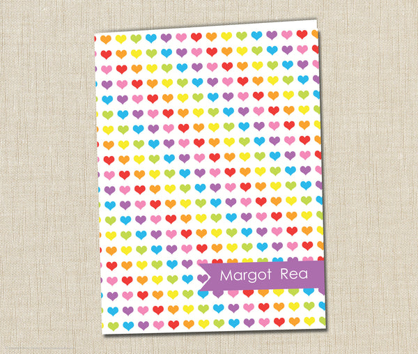 Personalized Folder Rainbow Hearts