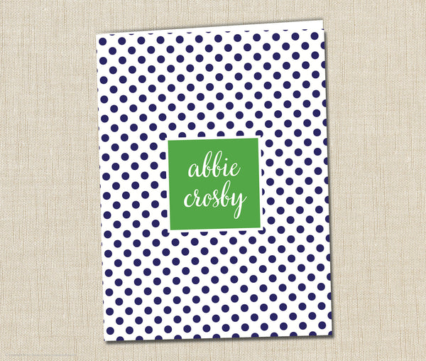 Personalized Folder Girls Swiss Dot