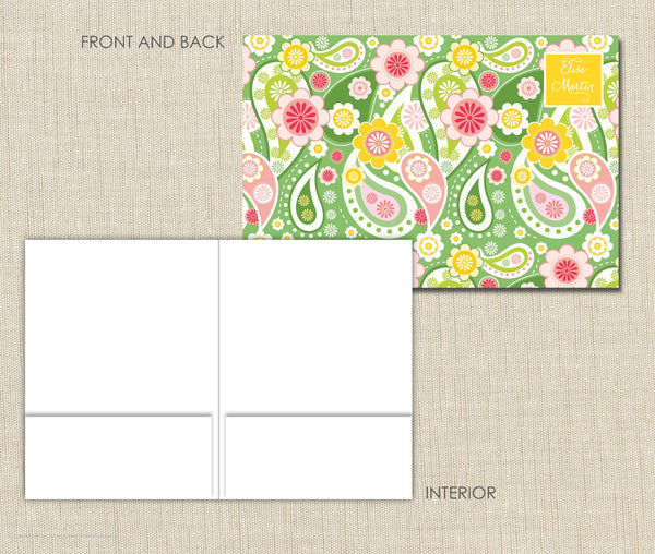 Personalized Folder Green Paisley