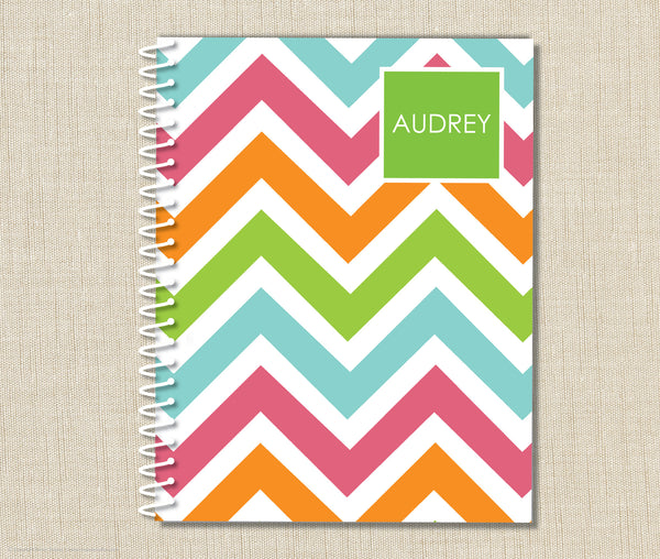Personalized Chevron Spiral Notebook