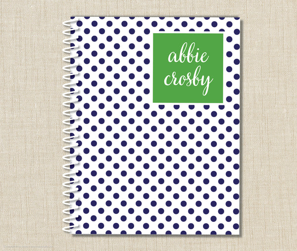 Personalized Swiss Dot Spiral Notebook