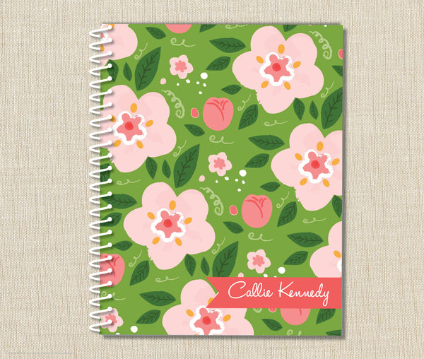 Personalized Floral Spiral Notebook
