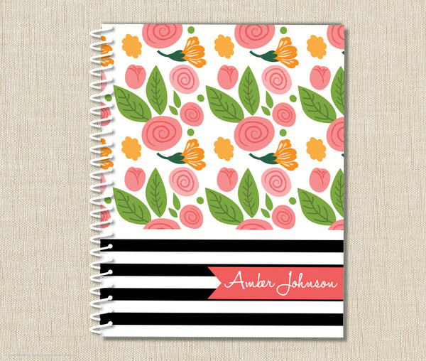 Personalized Notebook Flowers & Stripes