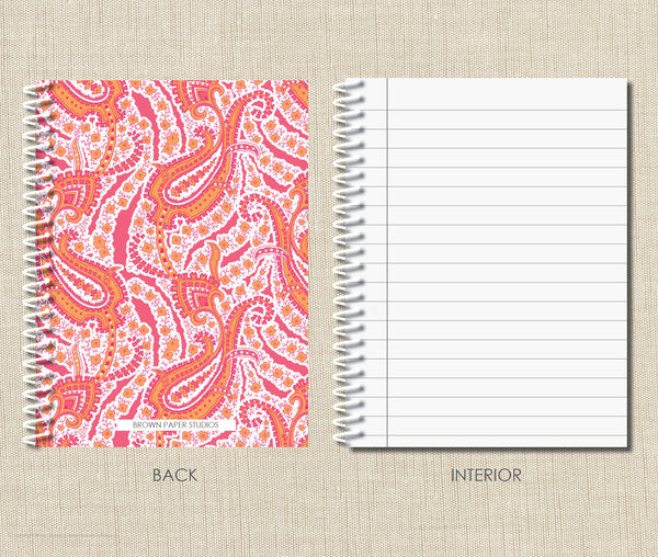 Personalized Paisley Spiral Notebook