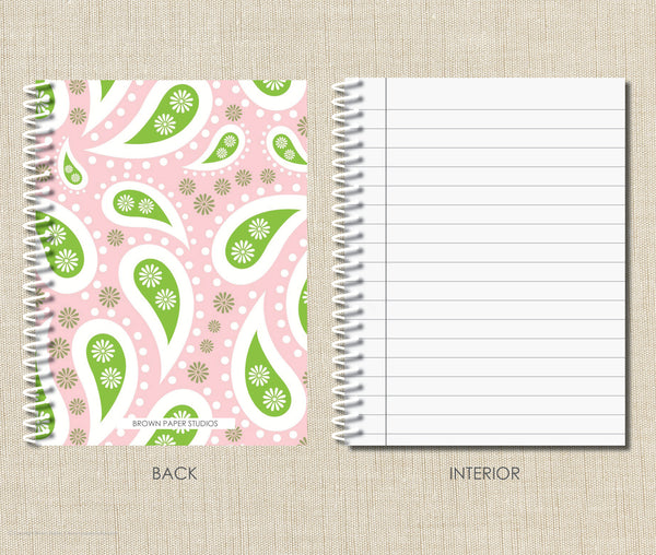 Personalized Spiral Notebook Pink Paisley