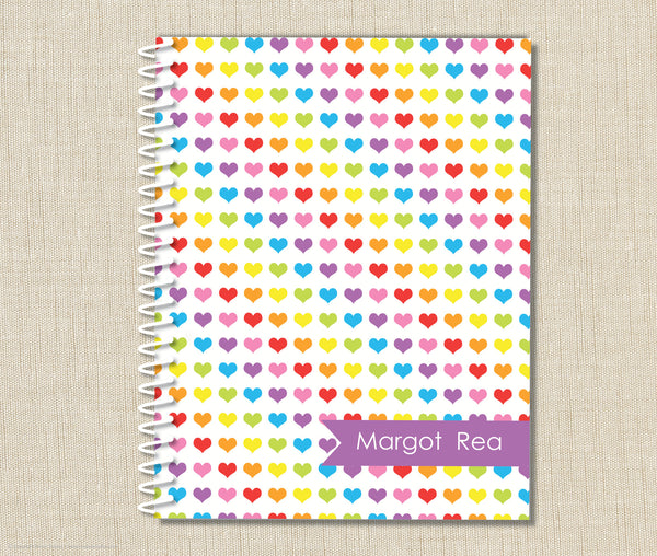 Personalized Rainbow Heart Spiral Notebook