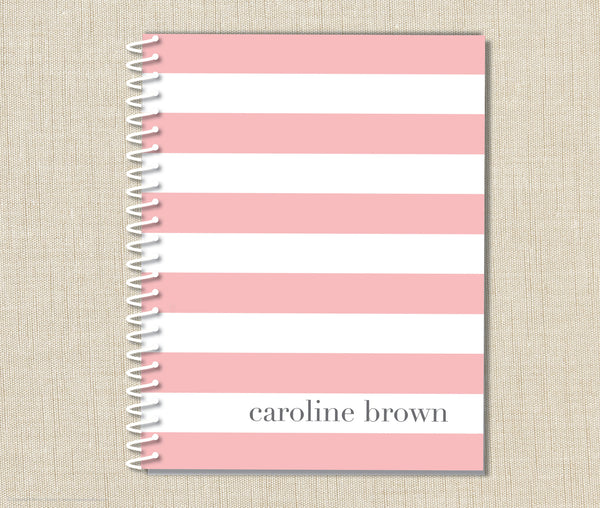 Personalized Stripe Spiral Notebook
