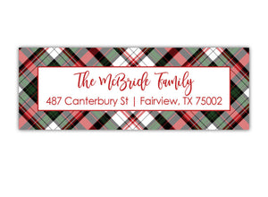 Plaid Christmas Address Labels