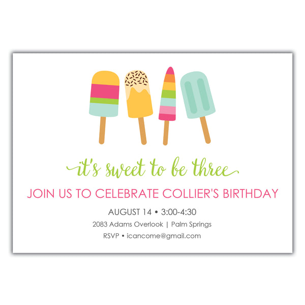 Popsicle Birthday Invitation