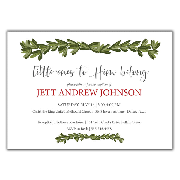 Preppy Boy Baptism Invitation