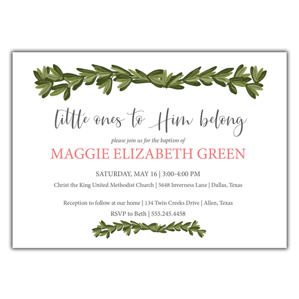 Boxwood Baptism Invitation