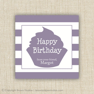 Purple Cupcake Gift Labels