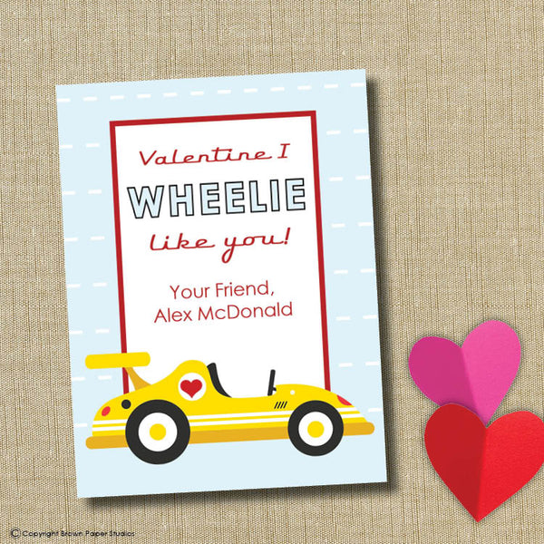 Race car School Valentine. Instant Download