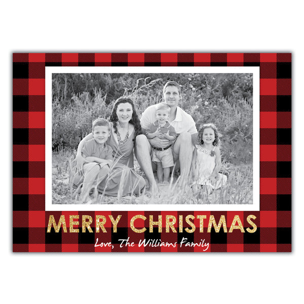 Red Plaid Christmas Card