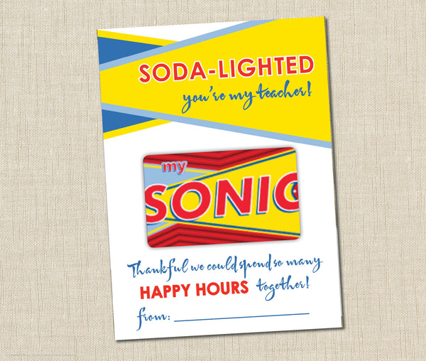 Sonic Gift Card Holder Instant Download