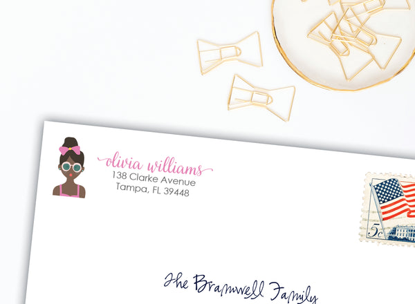 Summer Girl Return Address Labels