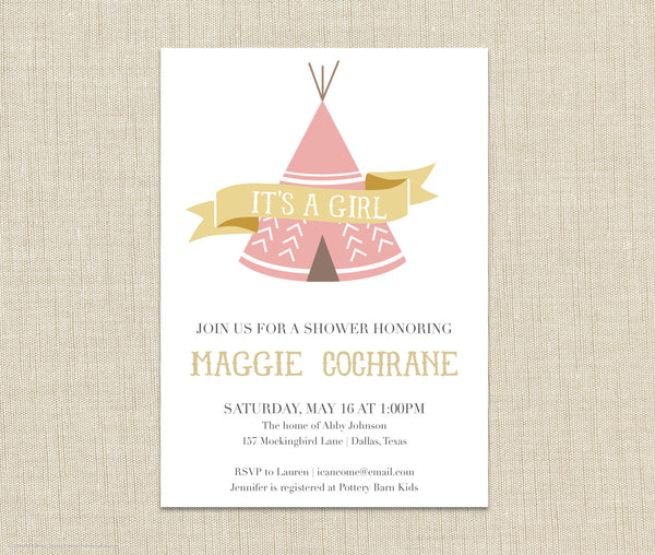 Teepee Baby Girl Shower Invitation