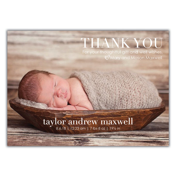 Thank you birth announcement