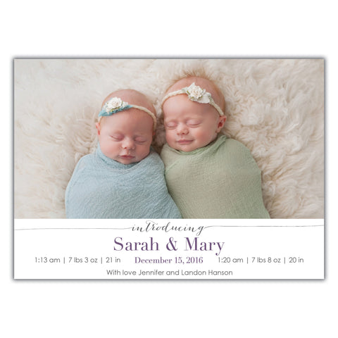 Twin Birth Announcements Brown Paper Studios – Birth Announcement for Twins