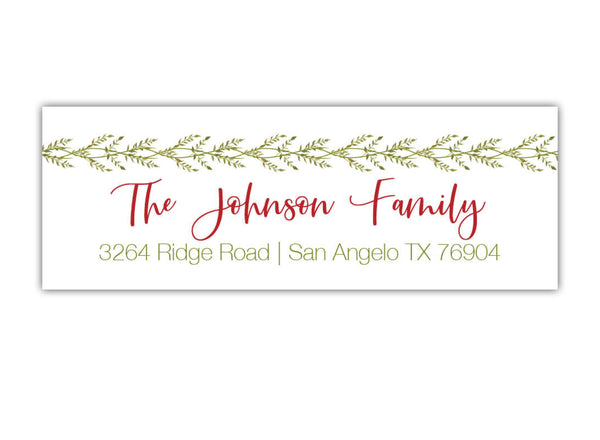 Vine Christmas Address Labels
