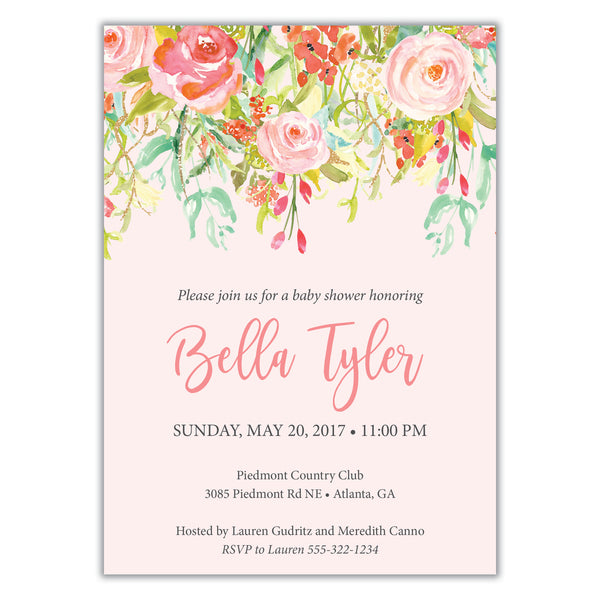 Watercolor Floral Shower Invitation
