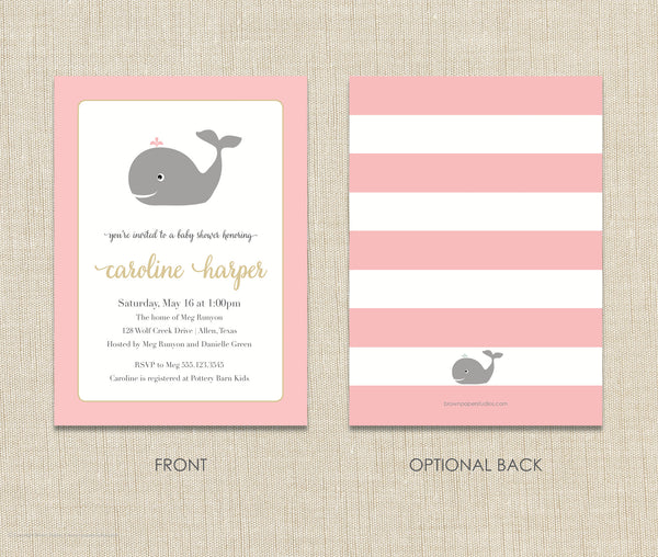Whale Baby Shower Invitation Girl Brown Paper Studios