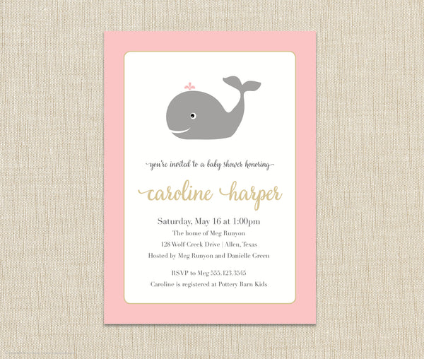 Whale Baby Shower Invitation girl