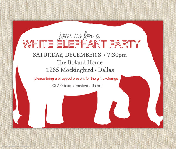 White Elephant Invitation