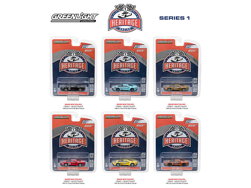 Ford GT Racing Heritage Series 1 Six Piece Set 1:64 Diecast Models