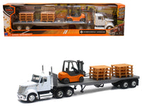 International Lonestar White with Flat Bed Hauling 1:43 Diecast Model - 16643