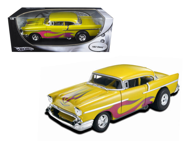 1957 Chevrolet Drag Car Yellow With Flames 1:18 Diecast Model